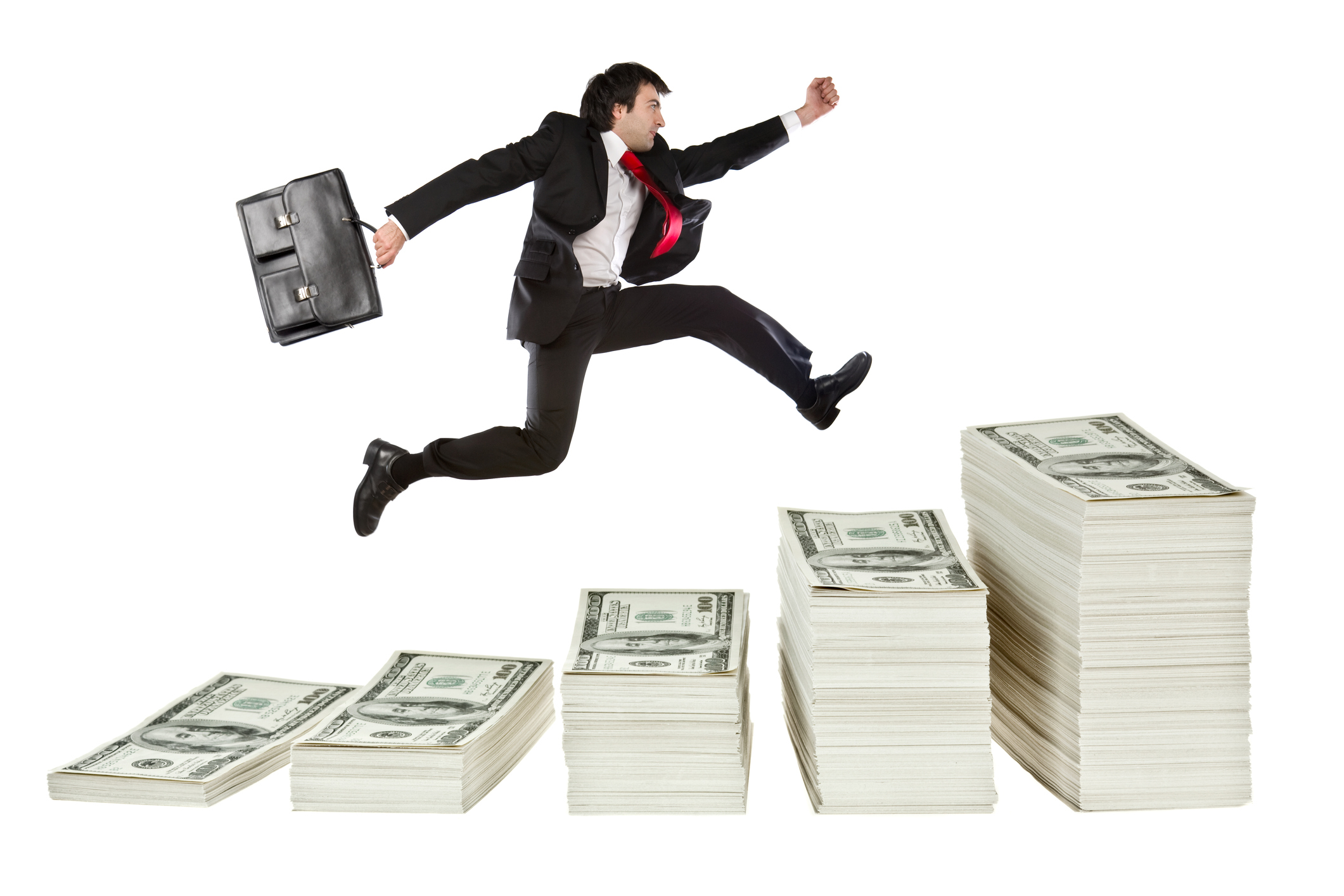 Leaping over money image
